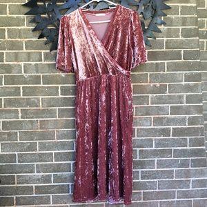 Long length pink velvet dress!! Brand new!